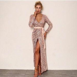 V-neck Plunging Neckline Pink Rose Sequin Dress